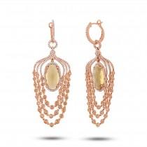 1.09ct Diamond & 11.98ct Citrine & Yellow Sapphire 14k Rose Gold Earrings