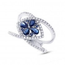 0.34ct Diamond & 0.92ct Blue Sapphire 14k White Gold Ring