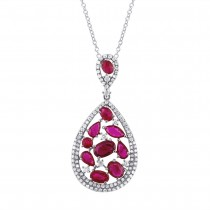 0.60ct Diamond and 2.81ct Ruby 14k White Gold Pendant Necklace
