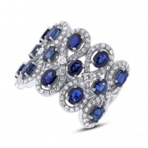 0.92ct Diamond & 3.61ct Blue Sapphire 14k White Gold Ring