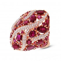 0.81ct Diamond and 8.17ct Ruby 14k Rose Gold Ring