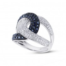 0.59ct Diamond & 1.10ct Blue Sapphire 14k White Gold Ring
