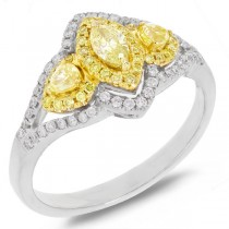 0.45ct Marquise Shape Center and 0.54ct Side 18k Two-tone Gold Natural Yellow Diamond Ring Size 9