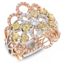 1.32ct 18k Three-tone Gold White & Fancy Color Diamond Ring
