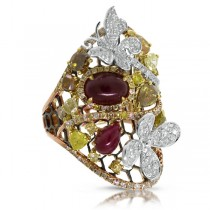 3.62ct 18k Two-tone Rose Gold White & Fancy Color Diamond & 3.46ct Ruby Ring