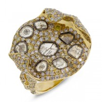 4.37ct 18k Yellow Gold Fancy Color Diamond Ring