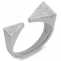 0.22ct 14k White Gold Diamond Pave Triangle Ring