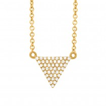0.13ct 14k Yellow Gold Diamond Pave Triangle Necklace