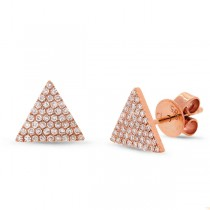 0.24ct 14k Rose Gold Diamond Pave Triangle Earrings