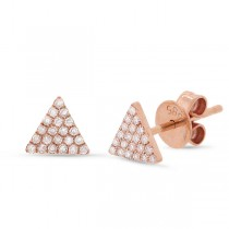 0.12ct 14k Rose Gold Diamond Pave Triangle Earrings