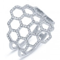 0.47ct 14k White Gold Diamond Honeycomb Ring