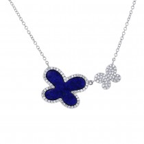 0.25ct Diamond & 1.27ct Lapis 14k White Gold Butterfly Necklace