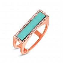 0.15ct Diamond & 0.97ct Composite Turquoise 14k Rose Gold Lady's Ring Size 6