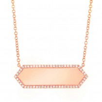 0.12ct 14k Rose Gold Diamond Bar ID Necklace