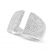 0.92ct 14k White Gold Diamond Pave Lady's Ring