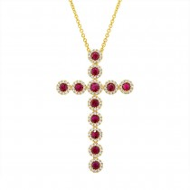 0.45ct Diamond & 1.03ct Ruby 14k Yellow Gold Diamond Cross Pendant Necklace