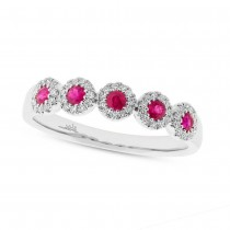 0.16ct Diamond & 0.31ct Ruby 14k White Gold Lady's Ring