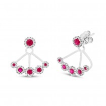 0.33ct Diamond & 0.58ct Ruby 14k White Gold Earrings Jacket With Studs