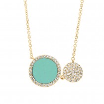 0.15ct Diamond and 0.84ct Composite Turquoise 14k Yellow Gold Circle Necklace