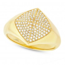 0.35ct 14k Yellow Gold Diamond Pave Lady's Ring