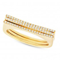 0.18ct 14k Yellow Gold Diamond Puzzle Ring 2-pc
