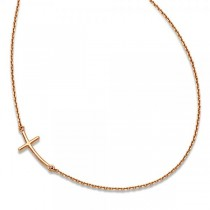 Small Sideways Curved Cross Pendant Necklace in 14k Rose Gold