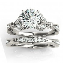 Diamond Accented Tulip Bridal Set Setting 14K White Gold (0.38ct)