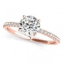 Diamond Accented Round Engagement Ring 18k Rose Gold (0.62ct)