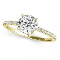 Diamond Accented Round Engagement Ring 18k Yellow Gold (1.12ct)