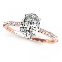 Diamond Accented Oval Shape Engagement Ring 14k Rose Gold (1.00ct)