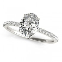 Diamond Accented Oval Shape Engagement Ring Platinum (1.00ct)
