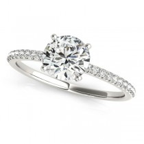 Diamond Accented Round Engagement Ring 14k White Gold (1.62ct)