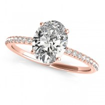 Diamond Accented Oval Shape Engagement Ring 18k Rose Gold (1.50ct)
