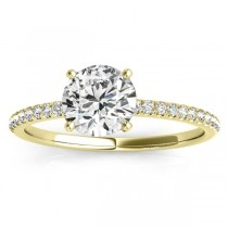 Diamond Accented Round Engagement Ring 14k Yellow Gold (0.12ct)