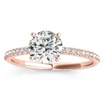 Diamond Accented Round Engagement Ring 18k Rose Gold (0.12ct)