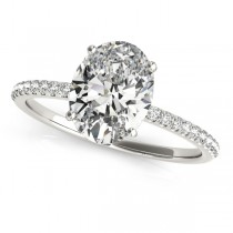 Diamond Accented Oval Shape Engagement Ring Platinum (2.00ct)