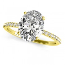 Diamond Accented Oval Shape Engagement Ring 18k Yellow Gold (2.50ct)