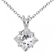 1.00ct. Princess-Cut Diamond Solitaire Pendant in 18k White Gold (H, VS2)