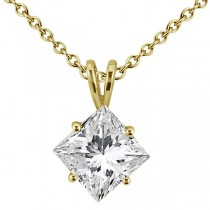 1.00ct. Princess-Cut Diamond Solitaire Pendant in 18k Yellow Gold (H, VS2)