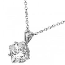 0.50ct. Princess-Cut Diamond Solitaire Pendant in 18k White Gold (I, SI2-SI3)
