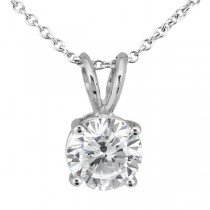1.00ct. Round Diamond Solitaire Pendant in 14K White Gold (I, SI2-SI3)