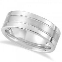 Men's Flat Ridged Wedding Ring Band in White Tungsten (8.3mm)