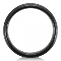 Men's Grooved Wedding Ring Band in Black PVD Tungsten (7.3mm)