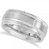 Men's Grooved Band Satin Wedding Ring Band in Tungsten (8.3mm)