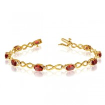 Oval Garnet and Diamond Infinity Bracelet in 14k Yellow Gold (4.53ct)