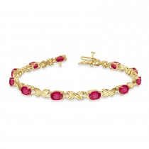 Ruby & Diamond XOXO Link Bracelet in 14k Yellow Gold (6.65ct)