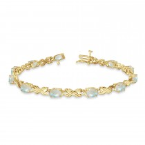 Opal & Diamond XOXO Link Bracelet 14k Yellow Gold (6.65ct)