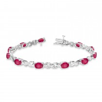 Ruby & Diamond XOXO Link Bracelet in 14k White Gold (6.65ct)