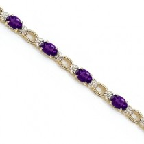 Oval Amethyst and Diamond Link Bracelet 14k Yellow Gold (6.72 ctw)