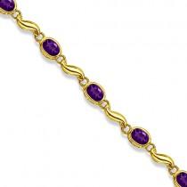 Bezel-Set Oval Amethyst Bracelet in 14K Yellow Gold (7x5 mm)